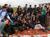 Turkmenistan Tour group with locals