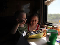 Trans Mongolian Tour Russian kids on train