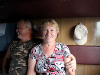 Trans Siberian Tour train cabin 2nd class Russian couple